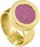 Quiges RVS Schroefsysteem Ring Goudkleurig Glans 20mm met Verwisselbare Glitter Roze 12mm Mini Munt