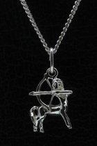 Zilveren Sterrenbeeld Boogschutter ketting hanger - klein