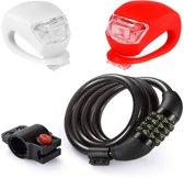 Kettingslot Fiets - Cijferslot / Fietsslot - met Handige Fietslampjes