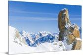 De Alpen van de Aiguille du Midi tijdens de winter in Frankrijk Aluminium 60x40 cm - Foto print op Aluminium (metaal wanddecoratie)