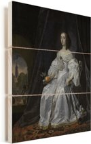Kunstreproductie van het Portret van Maria Henriëtte Stuart - Schilderij van Bartholomeus van der Helst Vurenhout met planken 30x40 cm - klein - Foto print op Hout (Wanddecoratie)