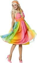 Regenboog hippy jurk voor dame maat 38