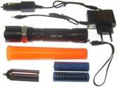 Led 3 Watt zaklamp oplaadbaar + 2X li-ion 18650 accu verkeersregelaars lamp met opzet kegel