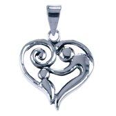 Zilveren Moeder en kind in hart ketting hanger - middel