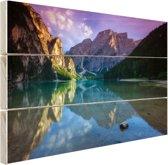 Meer tussen de bergen Hout 160x120 cm - Foto print op Hout (Wanddecoratie) XXL / Groot formaat!