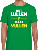 Niet Lullen maar Vullen tekst t-shirt groen voor heren - heren feest t-shirts 2XL