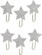 Creotime Paperclips Sterren Glitter Zilver 30 Mm 6 Stuks