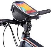 Fiets Stuurtas Met Smartphone Houder - Fiets Stuur Telefoonhouder Tas - Large tot 6.3 inch, zwart , merk i12Cover