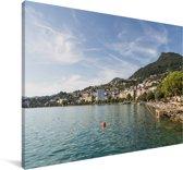 Kustlijn van het Meer van Genève Canvas 180x120 cm - Foto print op Canvas schilderij (Wanddecoratie woonkamer / slaapkamer) XXL / Groot formaat!