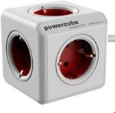 Allocacoc PowerCube Extended Stekkerdoos - Type F voor 5 stekkers met 1.5m kabel | wit-rood