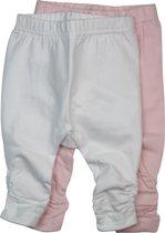 Dirkje Meisjes Legging (2 pk)  - Light pink + white - Maat 50