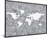 Wereldkaart Schilderij voor aan de muur zwart wit in lijst wit 40x30 cm