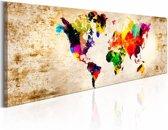 Schilderij - Wereld in Waterverf - Wereldkaart , multi kleur
