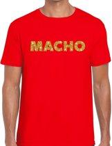 Macho goud glitter tekst t-shirt rood voor heren - heren shirts XL