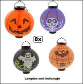 8x Halloween led hang lampion assortie