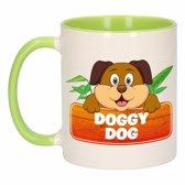 1x Doggy Dog beker / mok - groen met wit - 300 ml keramiek - honden bekers