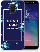 Samsung Galaxy A6 (2018) TPU Hoesje Flowers Blue DTMP