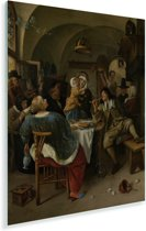 Familietafereel - Schilderij van Jan Steen Plexiglas 120x160 cm - Foto print op Glas (Plexiglas wanddecoratie) XXL / Groot formaat!