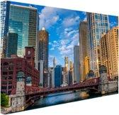Chicago rivier Canvas 80x60 cm - Foto print op Canvas schilderij (Wanddecoratie woonkamer / slaapkamer) / Steden Canvas Schilderijen