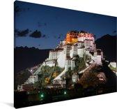 Het Potalapaleis verlicht in de avond in China Canvas 60x40 cm - Foto print op Canvas schilderij (Wanddecoratie woonkamer / slaapkamer)