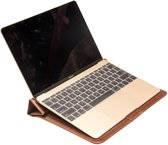 Qialino - MacBook 12-inch Hoes - Sleeve Leather Bruin