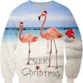Flamingo kersttrui - XXL