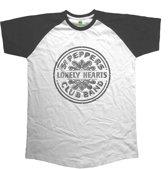 The Beatles - Sgt Pepper Drum heren unisex raglan T-shirt wit/zwart - XXL