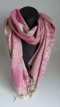 Mooie hippe sjaal van pashmina in de kleuren roze beige lengte 180 cm breedte 70 cm.