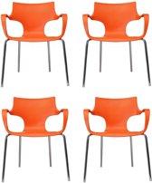 24Designs Set 4 Stoelen Jim - Armleuningen - Oranje