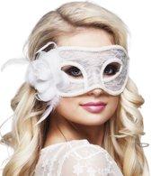 12 stuks: Masker Mystiek - Kanten - wit