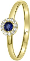 Lucardi - 14 karaat geelgouden ring met wit&blauwe zirkonia