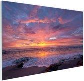 Avondlicht boven de zee Glas 120x80 cm - Foto print op Glas (Plexiglas wanddecoratie)