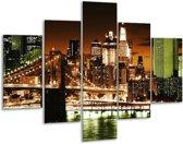 Glasschilderij Steden | Groen, Bruin, Wit | 100x70cm 5Luik | Foto print op Glas |  F003024