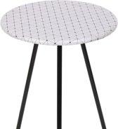 Sidetable bijzettafel salontafel tafel nachtkast rond zwart wit patroon 40x50cm