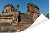 Vervallen stenen beelden voor vatadage Polonnaruwa in Sri Lanka Poster 180x120 cm - Foto print op Poster (wanddecoratie woonkamer / slaapkamer) XXL / Groot formaat!