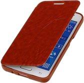 TPU Samsung Galaxy Core 2 G355H Booktype Lijn Motief Hoesje Bruin