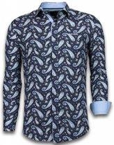 Gentile Bellini Italiaanse Overhemden - Slim Fit Overhemd - Blouse Flower Pattern - Blauw - Maten: XXL