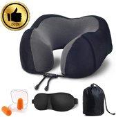 Nekkussen voor op reis met memoryfoam | U-vormig reiskussen, inclusief + slaapbrillen en oordopjes voor op reis kantoor of thuis | nekkussen (zwart)