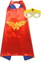 Wonder Woman - Superhelden Kostuum cape + masker voor kinderen 3 tot 10 jaar