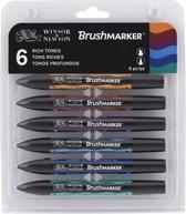 Winsor & Newton Brushmarker set 6 rijke kleuren