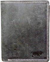 Leren heren portemonnee gemaakt van een stoer vintage zwart buffelleer