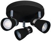 ENALI 3- rond - wandlamp - plafondlamp spot - incl LED - zwart