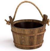 Sauna emmer (met koord) - dennen hout, geteerd, 4 liter - inclusief kunststof binnenemmer (Pinetta Finland)