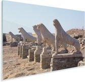 Zonnestralen op De Leeuwen van Delos in Griekenland Plexiglas 90x60 cm - Foto print op Glas (Plexiglas wanddecoratie)