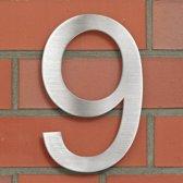 RVS huisnummer 9 ong. 20 x 13 cm nieuw 400808