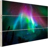 Felle kleuren noorderlicht Hout 120x80 cm - Foto print op Hout (Wanddecoratie)