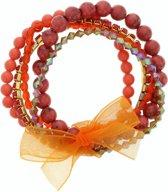 Koraal rode armband met oranje strikje