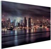 Duister New York City Glas 90x60 cm - Foto print op Glas (Plexiglas wanddecoratie)