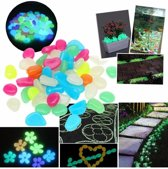 100x Leuke Pebbles Aquarium Stenen Glow in the Dark | Multicolor | Decoratie Aquariumsteentjes - Bodembeddeker - 100 Stuks