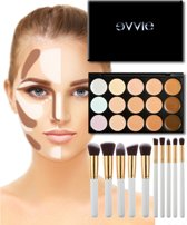 Evvie Contouring Set - Concealer palette - met 10-delige kabuki kwastenset